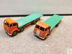 PAIR OF DINKY 502 FLAT BED FODENS - comprising styles with first and second series cabs - both in