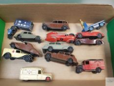 SMALL SELECTION OF PRE AND EARLY POST WAR DINKY CARS AND VANS - in playworn condition - F/G