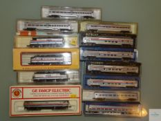 N GAUGE - GROUP OF AMERICAN OUTLINE DIESEL AND ELECTRIC LOCOS and PASSENGER CARS - by various