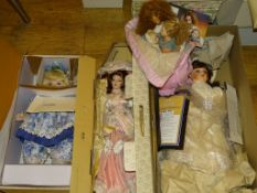 A group of six Artist Dolls to include: FRANKLIN HEIRLOOM DOLLS : 'Tea at The Ritz' (boxed)and 'Bébé