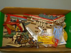 A collection of tinplate toys, together with some wooden ships and lead figures as lotted - F/G -