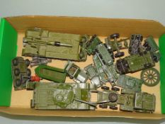 A tray of military vehicles by DINKY, MATCHBOX and others, in playworn condition as lotted - F/G