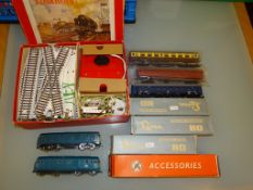 A group of HO GAUGE coaches and locos by LIMA and PLAYCRAFT together with a vintage boxed track