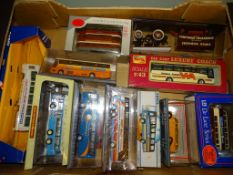 A tray of mostly OO Gauge vehicles, mainly coaches, by Corgi and others as lotted - VG in G/VG boxes