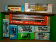 A group of HO Gauge wagons and coaches by MÄRKLIN and PRIMEX, mostly German Outline but also