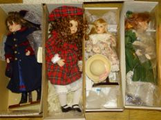 "A group of four ALBERON Artist Dolls - 3 x 22"", 1 x 16"" as lotted - boxed"