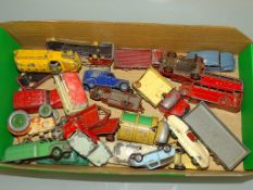 A tray of mixed diecast cars, vans, lorries etc by various manufacturers including DINKY in playworn