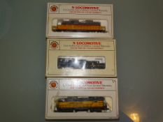 N GAUGE - GROUP OF AMERICAN OUTLINE LOCOS by BACHMANN all in UNION PACIFIC LIVERY (2 x diesel, 1 x