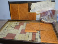 A Full boxed set of building bricks from 1930s/40s together with bag of loose bricks.