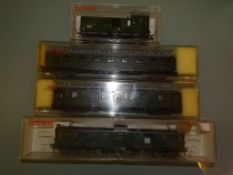 A group of German Outline Passenger Coaches / baggage vans by FLEISCHMANN and LILIPUT - G/VG in G
