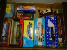 A group of diecast vans, cars and lorries by Corgi, Dinky and others as lotted - VG/E in G/VG