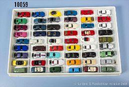 Konv. 54 H0 Modellfahrzeuge, Sportwagen und Pkw, versch. Hersteller, Wiking, Herpa, Praline,