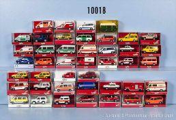 Konv. 43 Herpa H0 Modellfahrzeuge, Einsatzfahrzeuge, Feuerwehr, Polizei, Krankenwagen usw., sehr