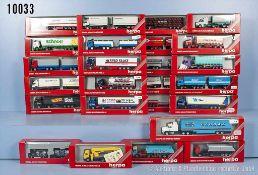 Konv. 25 Herpa H0 Modellfahrzeuge, Lkw und Sattelzüge, teilweise versch. Werbeaufschriften, u. a.