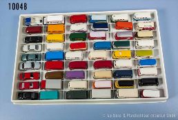 Konv. 54 H0 Modellfahrzeuge, Pkw und Transporter, versch. Hersteller, Brekina, Herpa und Wiking,