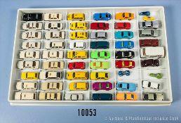 Konv. 54 H0 Modellfahrzeuge, Pkw, Sportwagen, Kabinenroller, Taxen usw., versch. Hersteller, Wiking,
