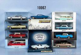 Konv. 10 Modellfahrzeuge, amerik. Limousinen, dabei Cadillac, Chevrolet, Buick, Lincoln, Bentley