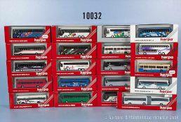 Konv. 20 Herpa H0 Modellfahrzeuge, Omnibusse, u. a. Gelenkbusse, Reisebusse, teilweise versch.