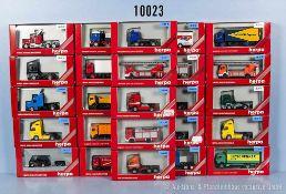 Konv. 25 Herpa H0 Modellfahrzeuge, dabei Lkw, Zugmaschinen, Kommunalfahrzeuge usw., sehr guter bis