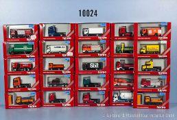 Konv. 25 Herpa H0 Modellfahrzeuge, dabei Lkw, Zugmaschinen, Kommunalfahrzeuge, Tankwagen usw.,