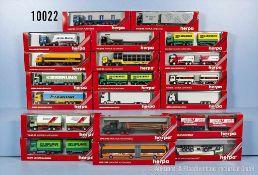 Konv. 20 Herpa H0 Modellfahrzeuge, Lkw, teilweise versch. Werbeaufschriften, Kieserling, Fixemer,