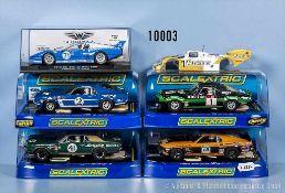 Konv. 5 Slot-Cars, Rallye- und Rennwagen, M 1:32, versch. Hersteller Scalextric und Slotwings
