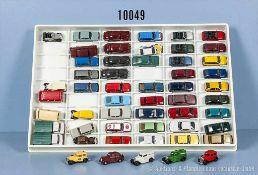 Konv. 54 H0 Modellfahrzeuge, Pkw, Oldtimer und Transporter, versch. Hersteller, Rietze, Wiking,