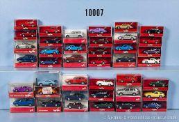 Konv. 40 Herpa H0 Modellfahrzeuge, dabei Pkw und Sportwagen, sehr guter bis neuwertiger Zustand in