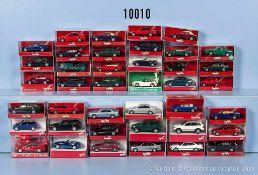 Konv. 40 Herpa H0 Modellfahrzeuge, Pkw und Cabriolets, überwiegend BMW, sehr guter bis neuwertiger