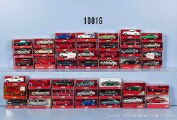 Konv. 45 Herpa H0 Modellfahrzeuge, überwiegend Pkw und Cabriolets, sehr guter bis neuwertiger