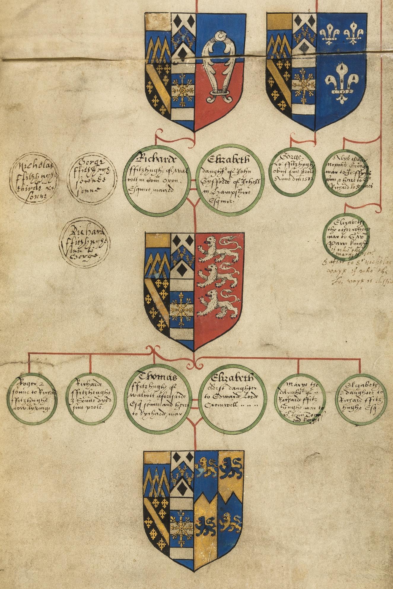 Fitzhugh Pedigree Roll, manuscript on vellum, 18 hand-painted coats of arms, [c. 1620].