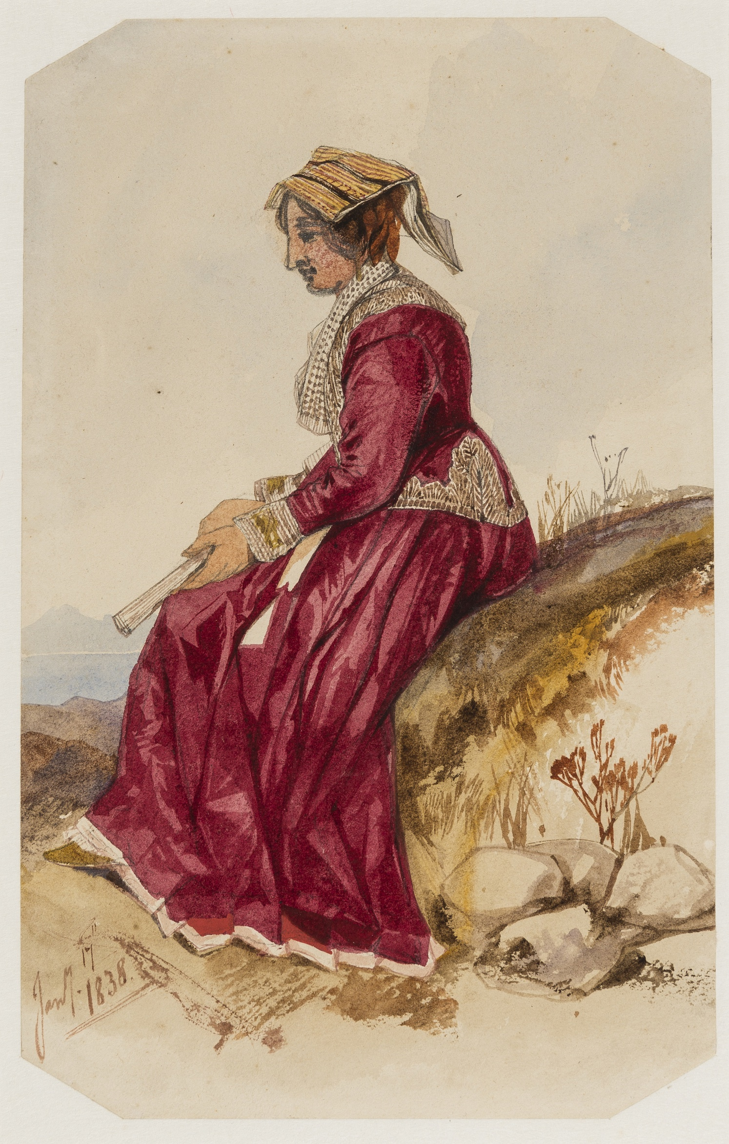 Lot 14 - Italy.- Lear (Edward, 1812-1888) Portrait of a lady in traditional Italian dress, seated with lake …