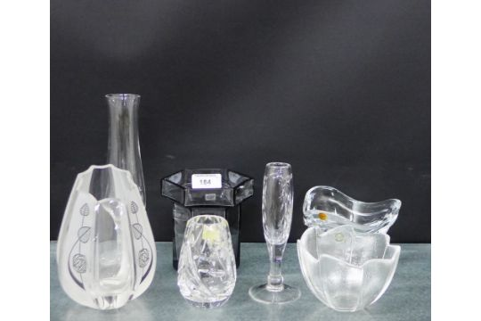 Mixed Glass Ware To Include A Wedgwood Smoked Glass Vase A