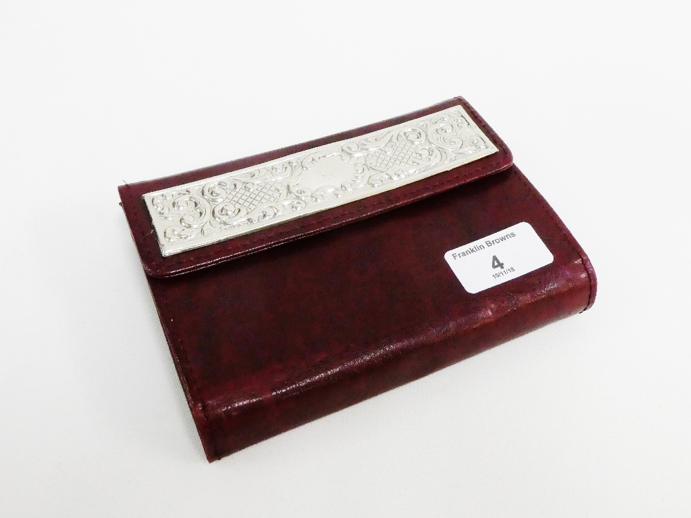 Lot 4 - Italian silver mounted and leather wallet containing two packs of unopened playing cards, pencil and