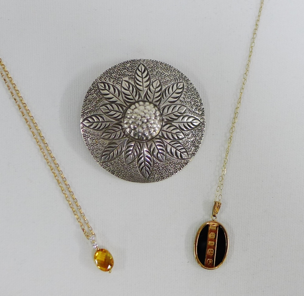 Lot 23 - 9 carat gold diamond and citrine pendant on 9 carat gold chain together with a black hardstone and 9