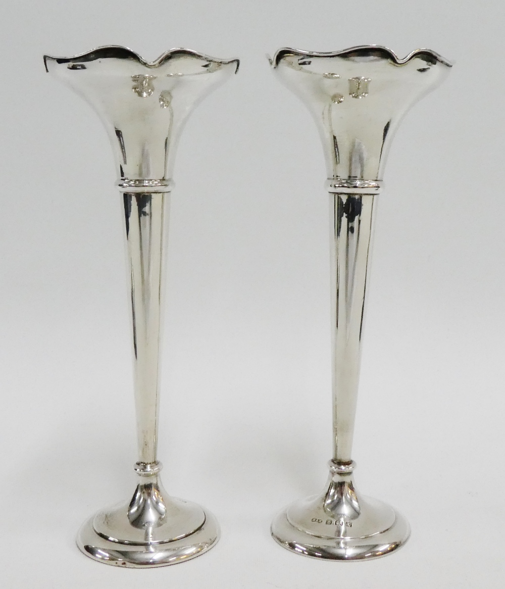 Lot 3 - George V silver solifleur vases on tapering stems and circular footrim by Harrison & Hipwood,