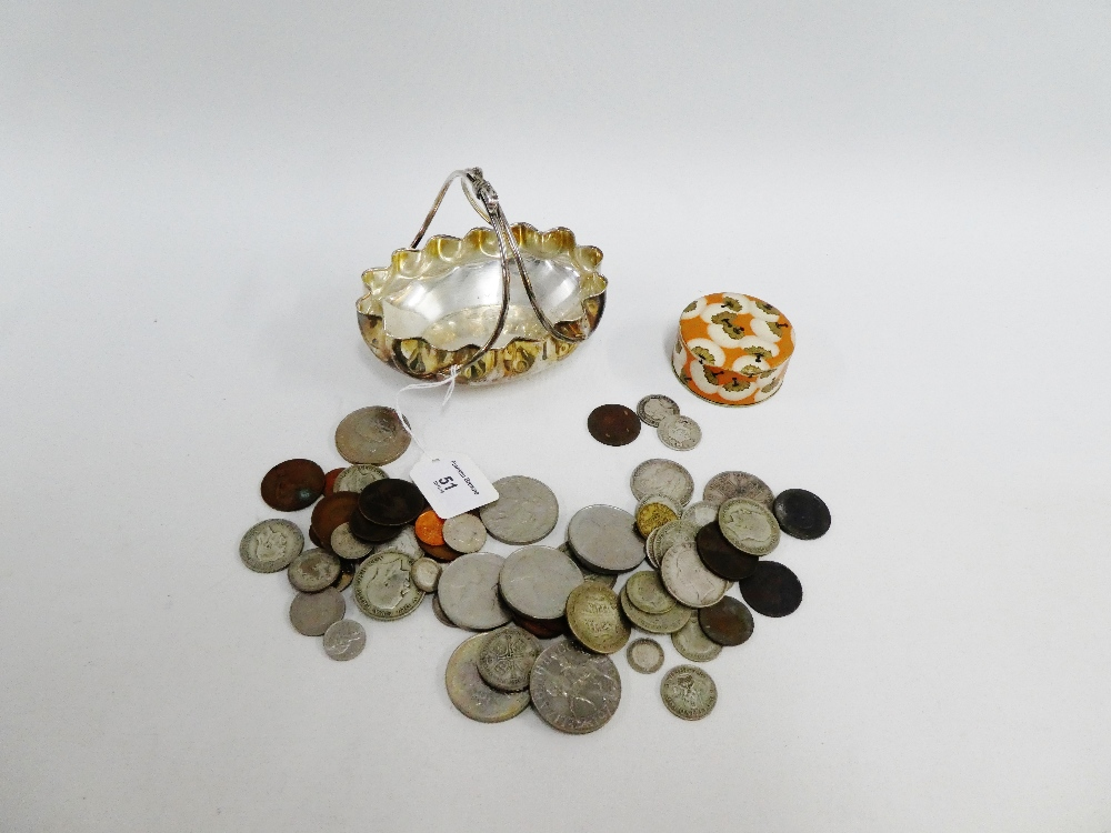 Lot 51 - A collection of pre decimal coins contained within an Epns basket (a lot)
