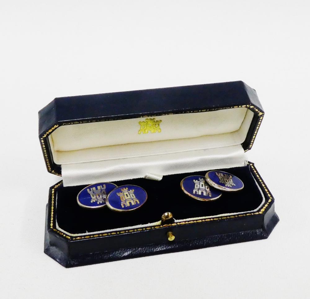 Lot 2 - Silver and blue enamel Edinburgh Castle cufflinks, by The Edinburgh Assay Office, Edinburgh 2000, in