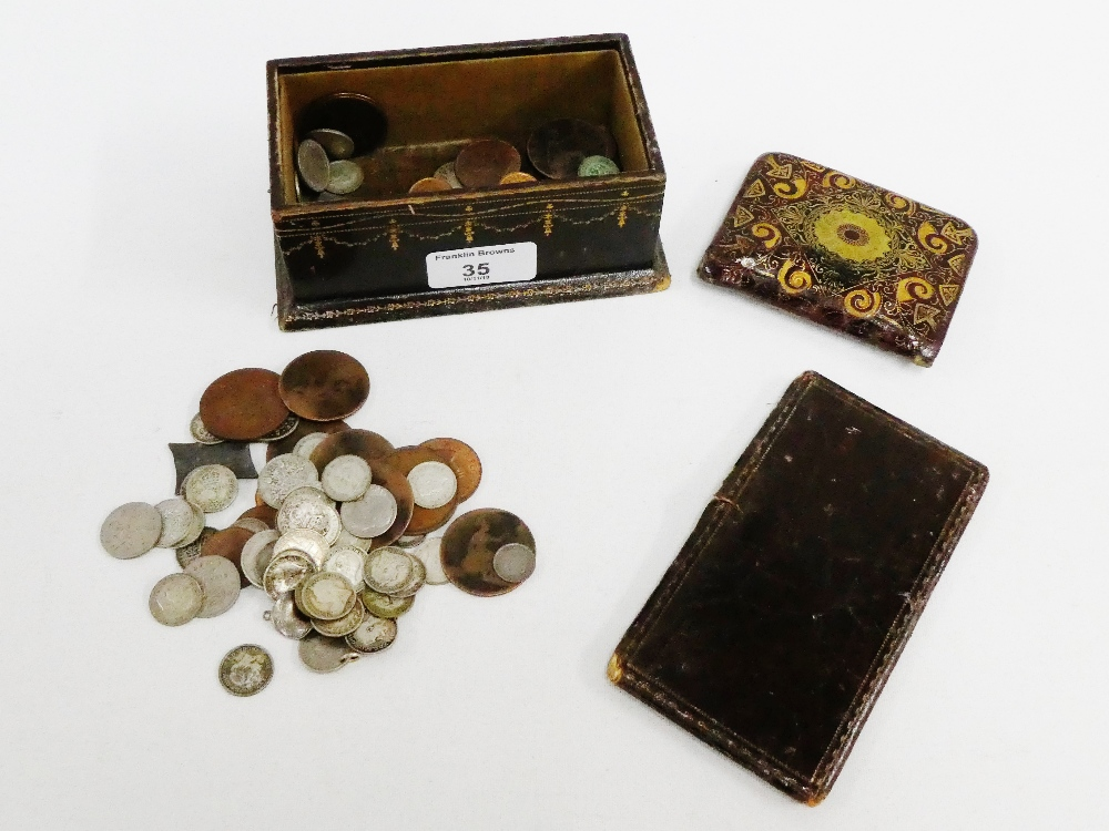 Lot 35 - A collection of pre decimal coins to include sixpences, etc contained within a leather box