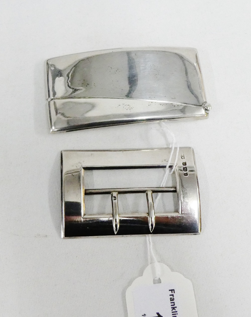 Lot 13 - Victorian silver buckle, Sheffield 1897 together with an Edwardian silver card case, Chester 1910 (