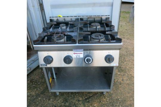 Emmepi grandi cucine 4 ring gas range cooker on stainless steel