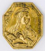 Verkündigungs-Madonna Italienische Plakette, wohl 17./ 18. Jh. 4,5 x 4 cm Rückseite: Erzengel