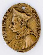 Kardinal Karl Borromäus (ital. Carlo Borromeo) Italienische Plakette, wohl 17. Jh. 5,5 x 4,4 cm