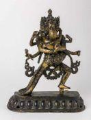 Cakrasamvara und Vajravarahi Tibet, Bronze-Figur, wohl 19. Jh, 23 cm hoch Cakrasamvara und