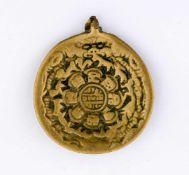 Kalender Nepal, Messing, wohl 19. Jh. 5,2 x 4,6 cm Calendar, Nepal, brass, probaly 19th c., 5,2 x