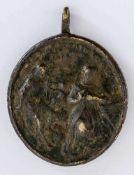 Hl. Katharina von Genua und Christus Italienische Plakette,wohl Ende 17. Jh. 3,8 x 3,5 cm St.