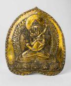 Cakrasamvara und Vajravarahi Messingplakette, wohl 19. Jh. 16,7 x 14,5 cm Cakrasamvara and