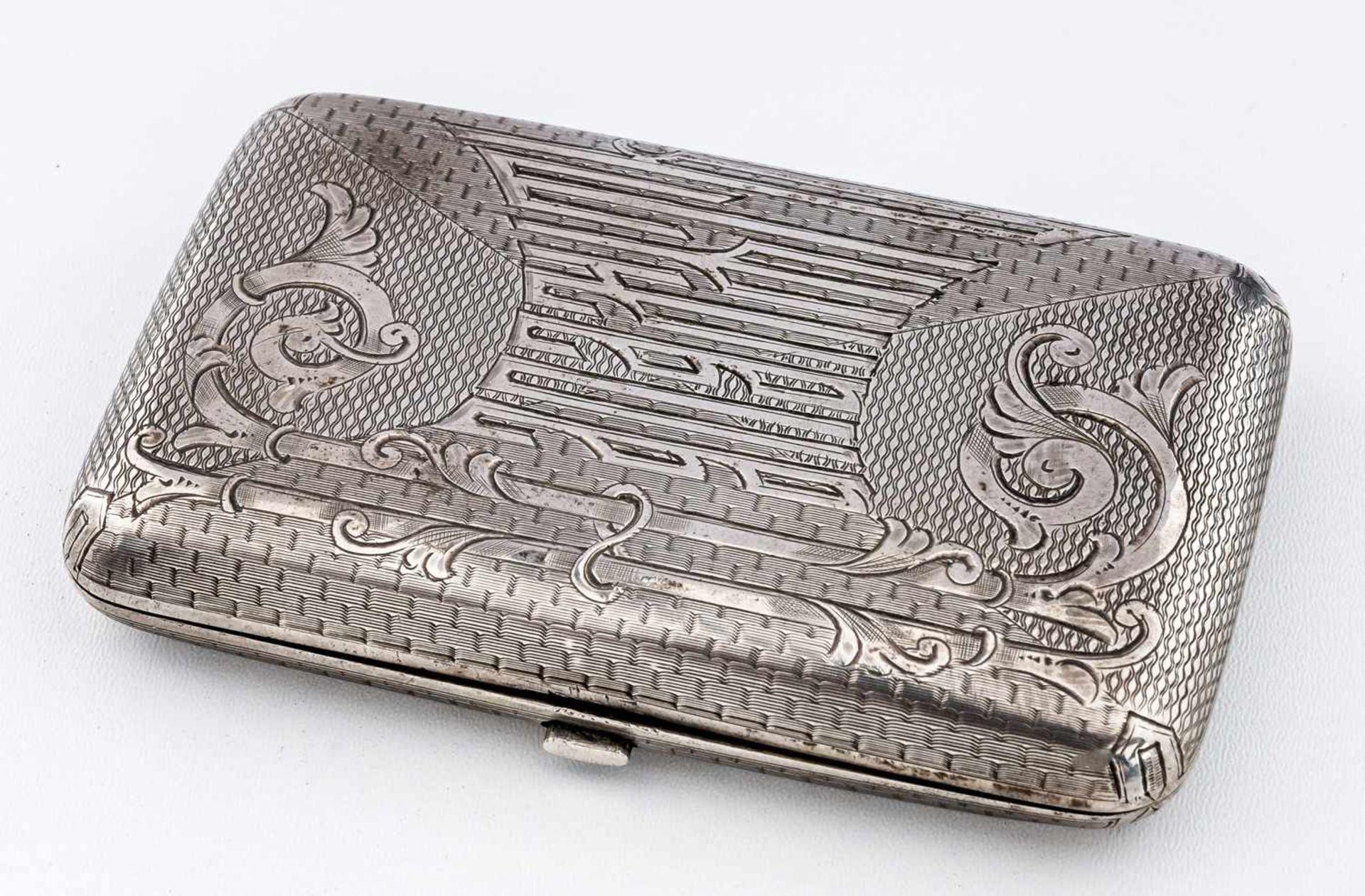 """Zigarettenetui Russland, Silber (106g), St. Petersburg vor 1899 Meister: """"PJS"""" in lateinischen"""