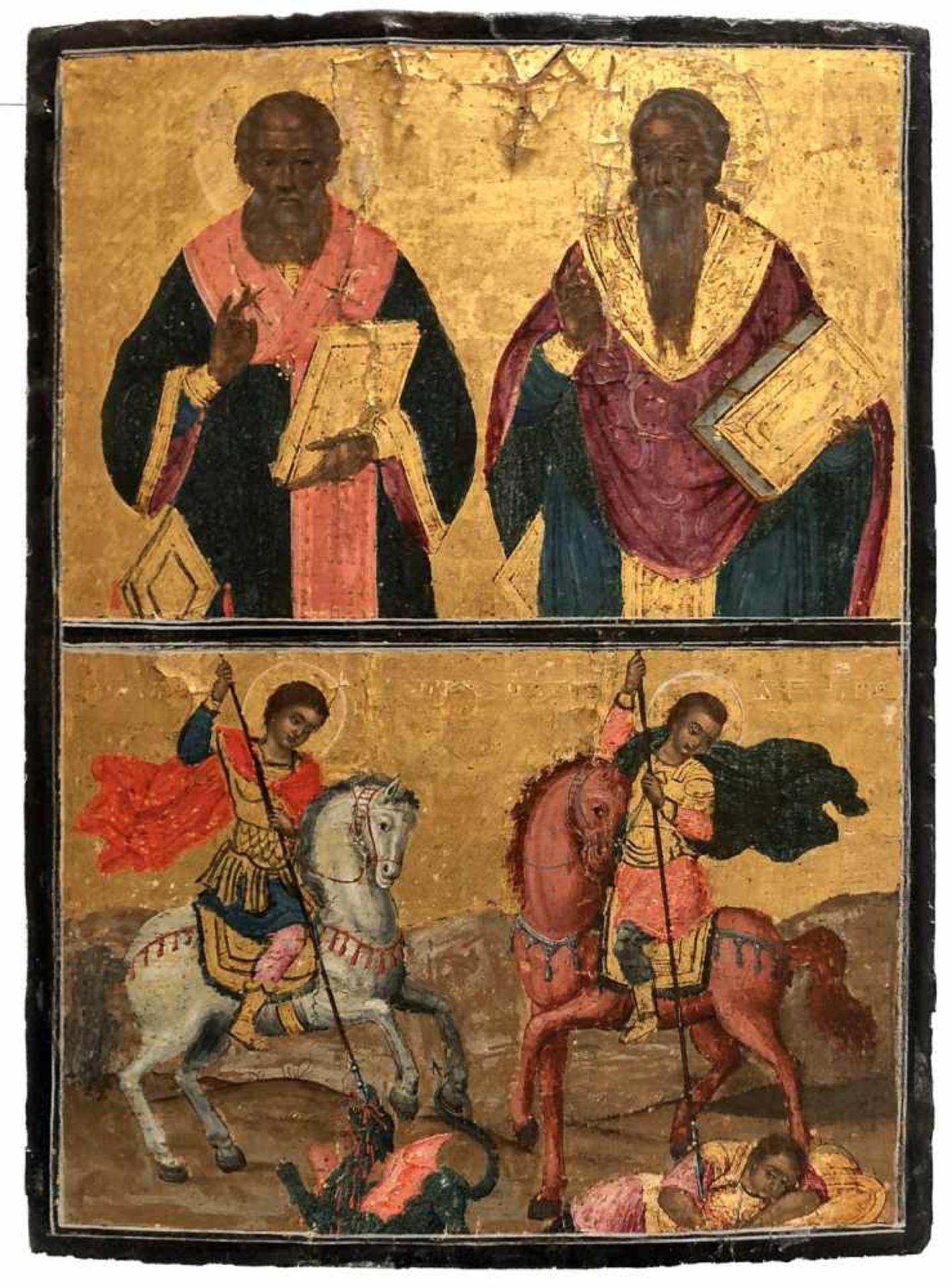 *Vierfelderikone Griechische Arbeit, 19. Jh. 37,5 x 28 cm *Fourfield-icon, Greek icon, 19th c., 37,5
