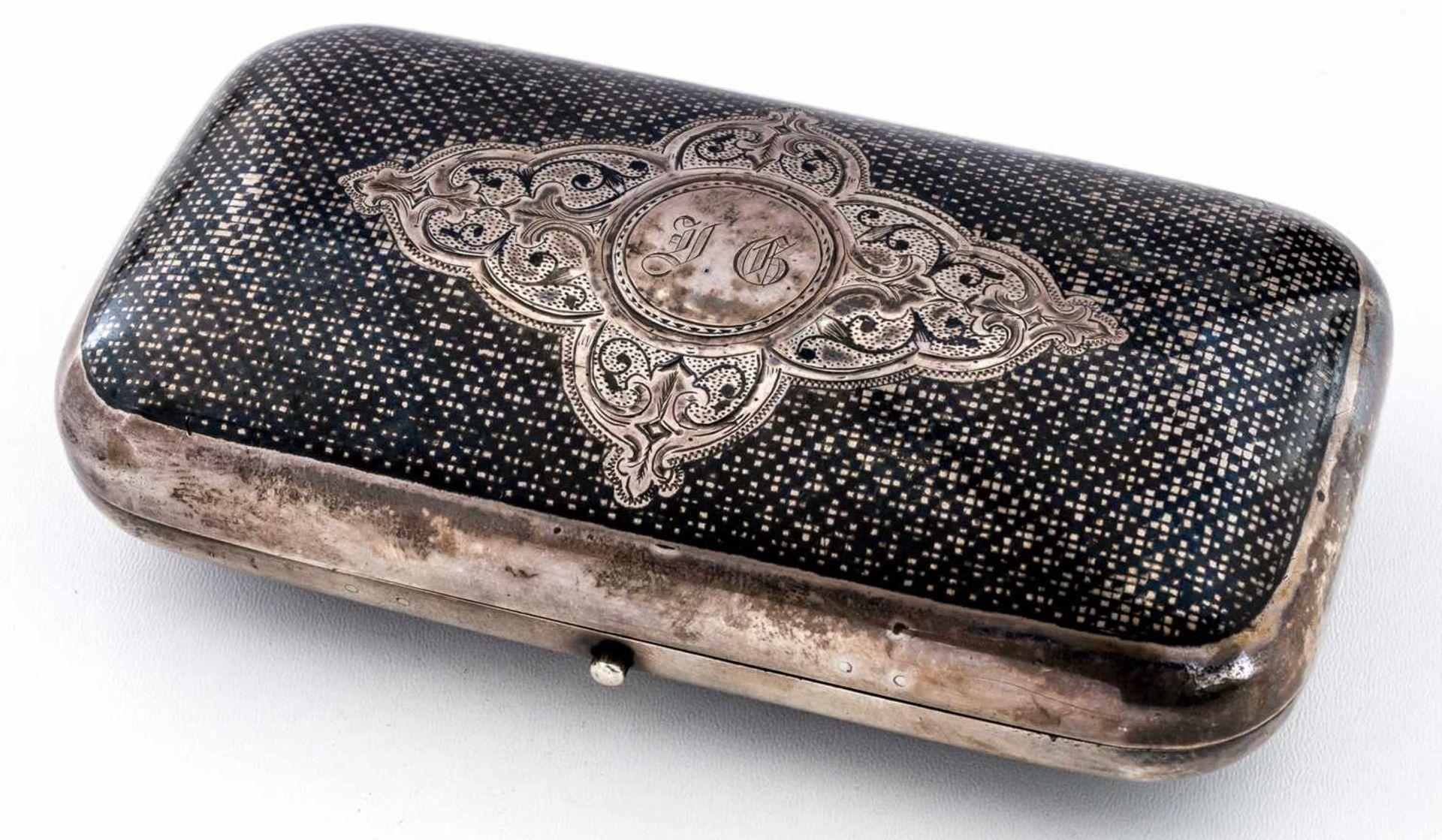 Zigarrendose mit Niellodekor Russland, Silber (194g), Moskau 1873 Beschaumeister: Viktor Savinkov